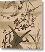 Cranes And Birds At Pond 1880 Metal Print