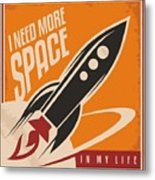 Creative Design Concept With Rocket And Metal Print