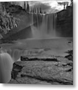 Crescent Falls Light Rays Through The Mist Black And White Metal Print