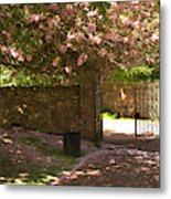 Crichton Church Entrance Gate And Tree In Pink Bloom Metal Print