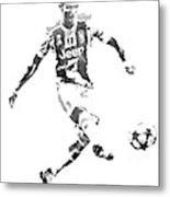 Cristiano Ronaldo Juventus Water Color Pixel Art 1 Metal Print