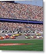 Crowd At Car Race Metal Print