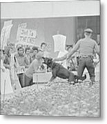 Crowd Protesting President Nixon Metal Print