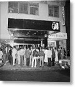 Crowd Standing In Front Of Studio 54 Metal Print