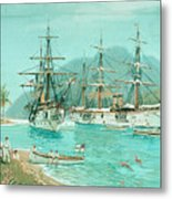 Cruiser And Gunboat Hoist On Ponape The German Flag Metal Print