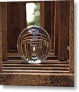 Crystal Ball In Wooden Lanterns Metal Print