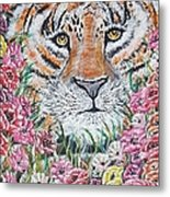 Cuddles The Tiger Small  Metal Print