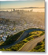 Curvy Road And View Of Downtown At Metal Print