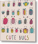 Cute Bugs. Cartoon Insects In Vector Set Metal Print