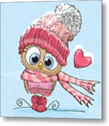 Cute Cartoon Owl In A Hat And Scarf Metal Print
