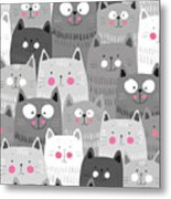 Cute Cats Colorful Seamless Pattern Metal Print