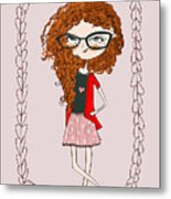 Cute Little Fashion Girl With Doodle Metal Print