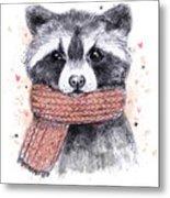 Cute Raccoon With Scarf , Sketchy Metal Print