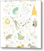 Cute Zoo Alphabet With Funny Animals In Metal Print