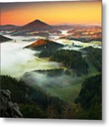 Czech Typical Autumn Landscape. Hills Metal Print