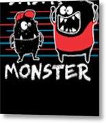 Dada Monster Cute Monster Cartoon For Kids And Dad Dark Metal Print
