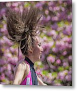 Dancing And Cherry Blossoms Metal Print