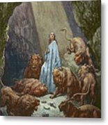 Daniel In The Den Of Lions  Engraving By Gustave Dore Metal Print