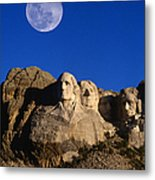 Daytime Moon Above Presidential Faces Metal Print