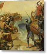 Debarquement De Saint Louis, A Damiette En Egypte, 1249 Metal Print