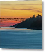 Deception Pass Bridge Sunset Light Metal Print
