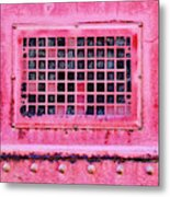 Deep Pink Train Engine Vent Square Format Metal Print