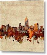 Denver Skyline Sepia Metal Print