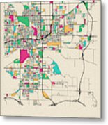 Des Moines, Iowa City Map Metal Print