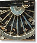 Detail Of Locomotive Wheel With Spokes Metal Print