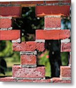 Details Of A Red Brick Wall With Pattern Metal Print