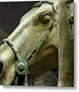 Details Of Head Of Horse From Terra Cotta Warriors, Xian, China Metal Print