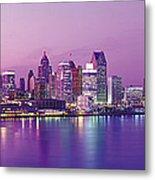 Detroit Under Purple Sky Metal Print