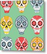 Dia De Muertos Skulls Metal Print