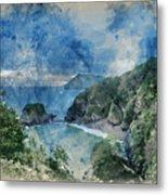 Digital Watercolor Painting Of Beautiful Dramatic Sunrise Landsa Metal Print