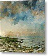 Digital Watercolor Painting Of Beautiful Landscape Panorama Suns Metal Print