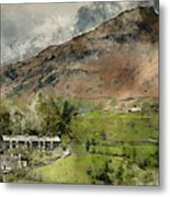 Digital Watercolor Painting Of Beautiful Old Village Landscape N Metal Print