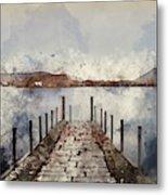 Digital Watercolor Painting Of Landscape Image Of Derwent Water  Metal Print