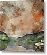 Digital Watercolor Painting Of Llyn Nantlle At Sunrise Looking T Metal Print