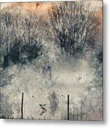Digital Watercolor Painting Of Panorama Landscape Of Lake In Mis Metal Print