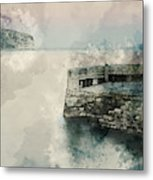 Digital Watercolor Painting Of Peaceful Landscape Of Stone Jetty Metal Print