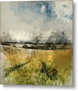 Digital Watercolor Painting Of Stunning Countryside Landscape Wh Metal Print