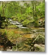 Digital Watercolor Painting Of Stunning Landscape Iamge Of River Metal Print