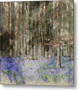 Digital Watercolor Painting Of Stunning Landscape Of Bluebell Fo Metal Print
