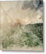 Digital Watercolor Painting Of Windmill In Stunning Landscape On Metal Print
