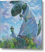 Dinosaur And Son With A Parasol  Metal Print