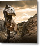 Dinosaurs Model On Rock Mountain Metal Print