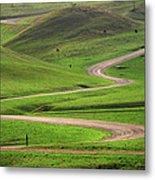 Dirt Road Through Green Hills Metal Print