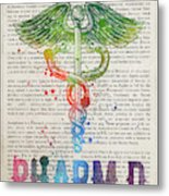 Doctor Of Pharmacy Gift Idea With Caduceus Illustration 03 Metal Print
