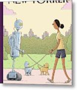 Dog Walking 2.0 Metal Print