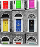 Doors Of Dublin - Vertical Metal Print